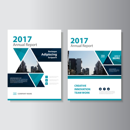 Illustration for Triangle Blue Vector annual report Leaflet Brochure Flyer template design, book cover layout design, Abstract blue presentation templates - Royalty Free Image