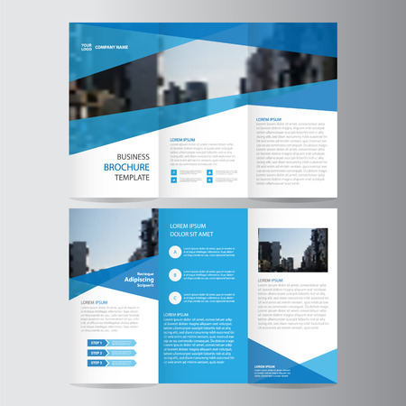 Ilustración de Blue trifold annual report Leaflet Brochure Flyer template design, Abstract blue layout templates - Imagen libre de derechos