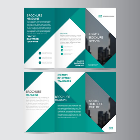 Ilustración de Green elegance business trifold business Leaflet Brochure template minimal flat design set - Imagen libre de derechos