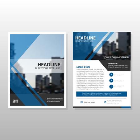 Ilustración de Blue Vector annual report Leaflet Brochure Flyer template design, book cover layout design, abstract business presentation template, a4 size design - Imagen libre de derechos