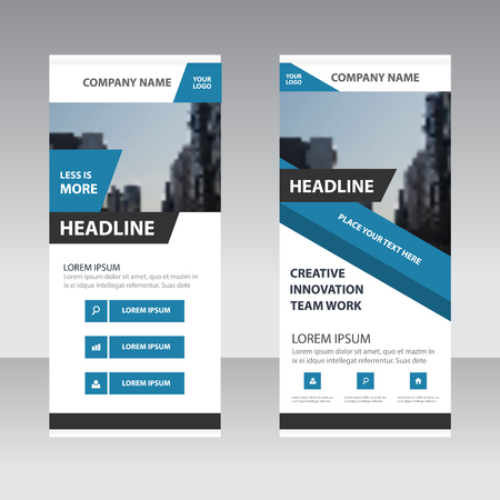 Blue Abstract Business Roll Up Banner Flat Design Template