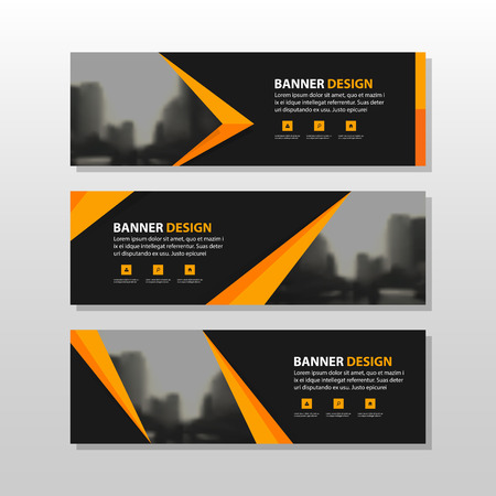 Ilustración de Orange black triangle square abstract corporate business banner template, horizontal advertising business banner layout template flat design set , clean abstract cover header background for website design - Imagen libre de derechos