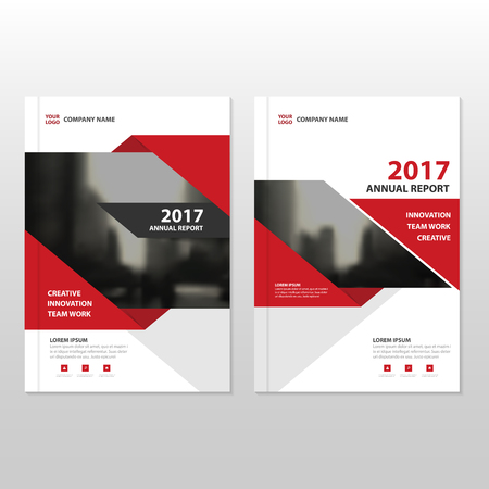 Ilustración de Red Vector annual report Leaflet Brochure Flyer template design, book cover layout design, abstract business presentation template, a4 size design - Imagen libre de derechos