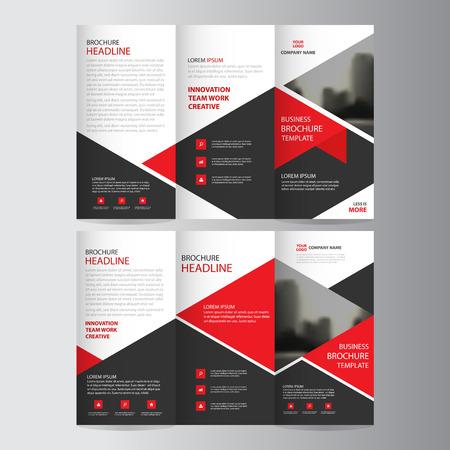Ilustración de Red triangle business trifold Leaflet Brochure Flyer report template vector minimal flat design set, abstract three fold presentation layout templates a4 size - Imagen libre de derechos