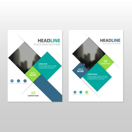 Ilustración de Blue green square Vector annual report Leaflet Brochure Flyer template design, book cover layout design, abstract business presentation template, a4 size design - Imagen libre de derechos