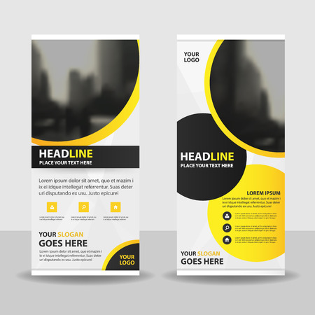 yellow circle roll up business brochure flyer banner design cover