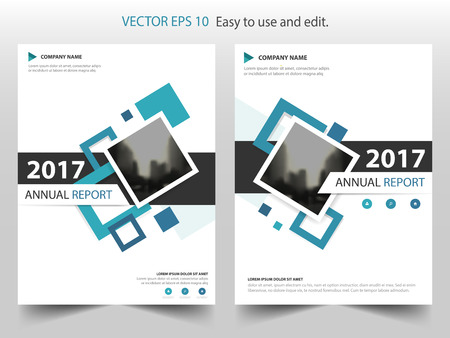 Blue Square Annual Report Leaflet Brochure Flyer Template