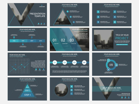 Ilustración de Business presentation infographic elements template set, annual report corporate horizontal brochure design template. - Imagen libre de derechos