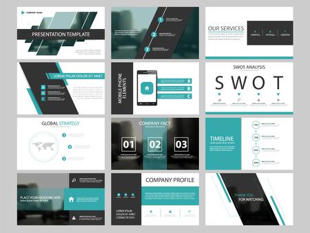 Ilustración de Business presentation infographic elements template set, annual report corporate horizontal brochure design template - Imagen libre de derechos
