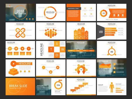 Illustration pour Orange Abstract presentation templates, Infographic elements template flat design set for annual report brochure flyer leaflet marketing advertising banner template - image libre de droit