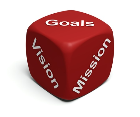 Red Dice with words Vision, Mission, Goals defining every company's Business strategy