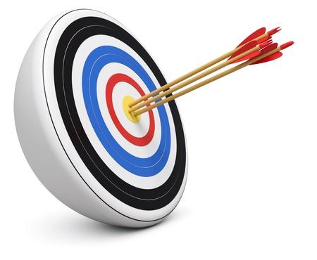 Photo pour Bull's-Eye three archery arrows hit right on target  center over white background 3d render - image libre de droit