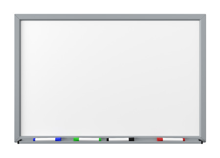 Photo for Blank Dry Erase White Board with Gray Metal Frame, Tray and Four Color Felt-Tip Pens Isolated on White Background - Royalty Free Image