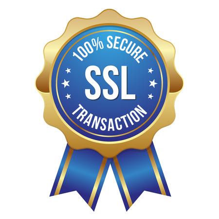 Blue gold secure transaction badge