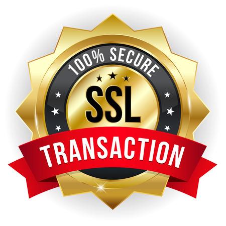 Gold red secure transaction badge