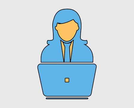 Illustration pour Colorful Online service Icon.  Female Icon behind computer - image libre de droit
