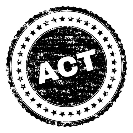 ACT stamp seal watermark with distress style. Black vector rubber print of ACT text with corroded texture. Rubber seal imitation has circle shape and contains stars.