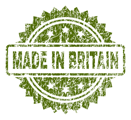 MADE IN BRITAIN stamp seal watermark with rubber print style. Green vector rubber print of MADE IN BRITAIN caption with grunge texture.