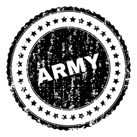 ARMY stamp seal watermark with distress style. Black vector rubber print of ARMY text with grunge texture. Rubber seal imitation has circle shape and contains stars.