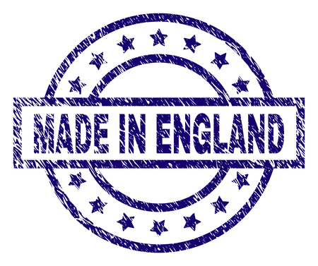 MADE IN ENGLAND stamp seal watermark with distress texture. Designed with rectangle, circles and stars. Blue vector rubber print of MADE IN ENGLAND title with scratched texture.