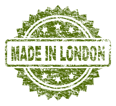 MADE IN LONDON stamp seal watermark with rubber print style. Green vector rubber print of MADE IN LONDON title with unclean texture.