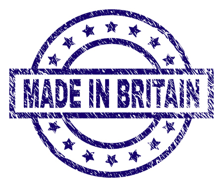 MADE IN BRITAIN stamp seal watermark with distress texture. Designed with rectangle, circles and stars. Blue vector rubber print of MADE IN BRITAIN caption with scratched texture.