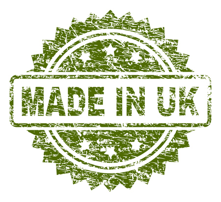 MADE IN UK stamp seal watermark with dirty style. Green vector rubber print of MADE IN UK label with unclean texture.