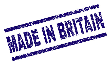 MADE IN BRITAIN stamp seal watermark with grunge style. Blue vector rubber print of MADE IN BRITAIN label with dust texture. Text label is placed between parallel lines.