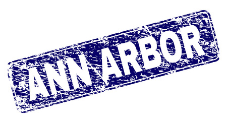 ANN ARBOR stamp seal print with distress style. Seal shape is a rounded rectangle with frame. Blue vector rubber print of ANN ARBOR label with dirty style.