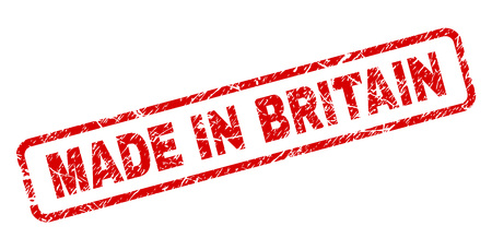 MADE IN BRITAIN stamp seal print with grunge style. Red vector rubber print of MADE IN BRITAIN title with scratched texture. Text title is placed inside rounded rectangle frame.