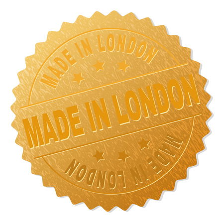 MADE IN LONDON gold stamp badge. Vector gold award of MADE IN LONDON text. Text labels are placed between parallel lines and on circle. Golden skin has metallic structure.
