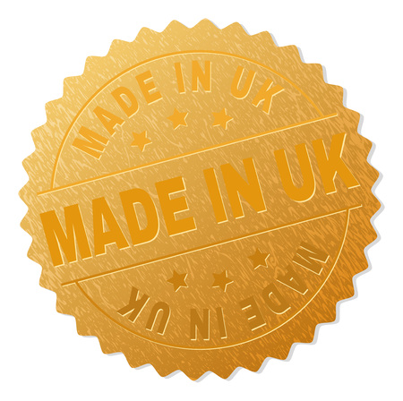 MADE IN UK gold stamp badge. Vector golden award of MADE IN UK text. Text labels are placed between parallel lines and on circle. Golden area has metallic structure.
