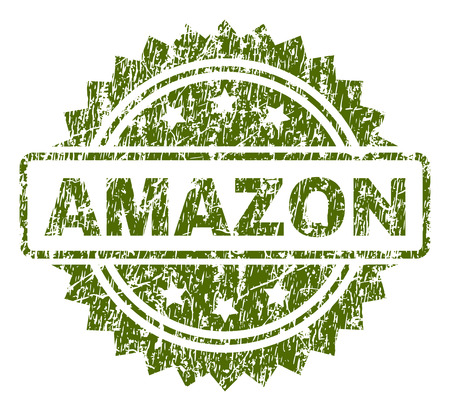 Illustration pour AMAZON stamp seal watermark with rubber print style. Green vector rubber print of AMAZON tag with grunge texture. - image libre de droit
