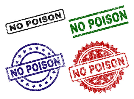 Illustration pour NO POISON seal prints with damaged style. Black, green,red,blue vector rubber prints of NO POISON text with dust style. Rubber seals with circle, rectangle, medal shapes. - image libre de droit