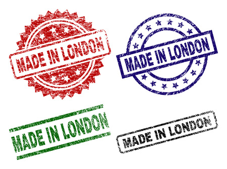 MADE IN LONDON seal prints with corroded surface. Black, green,red,blue vector rubber prints of MADE IN LONDON text with corroded texture. Rubber seals with round, rectangle, rosette shapes.