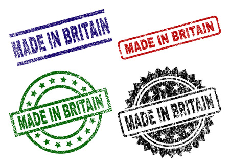 MADE IN BRITAIN seal prints with distress style. Black, green,red,blue vector rubber prints of MADE IN BRITAIN label with retro style. Rubber seals with circle, rectangle, medal shapes.