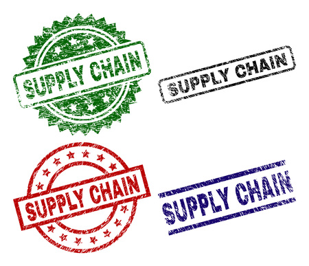 SUPPLY CHAIN seal prints with damaged style. Black, green,red,blue vector rubber prints of SUPPLY CHAIN text with dust style. Rubber seals with round, rectangle, rosette shapes.