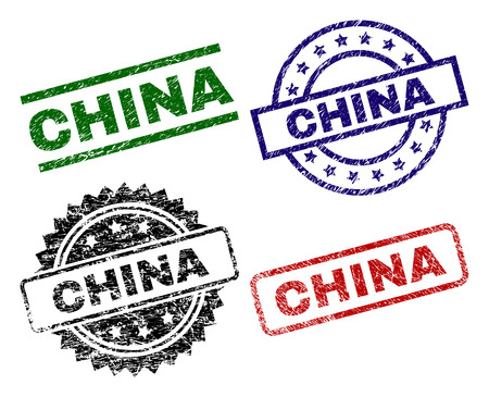 Illustration pour CHINA seal prints with corroded texture. Black, green,red,blue vector rubber prints of CHINA text with retro texture. Rubber seals with round, rectangle, medallion shapes. - image libre de droit