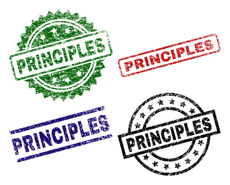 Illustration pour PRINCIPLES seal prints with distress style. Black, green,red,blue vector rubber prints of PRINCIPLES tag with scratched style. Rubber seals with round, rectangle, rosette shapes. - image libre de droit