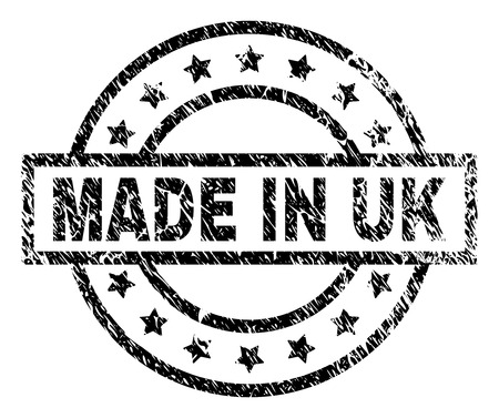 MADE IN UK stamp seal watermark with distress style. Designed with rectangle, circles and stars. Black vector rubber print of MADE IN UK text with dirty texture.