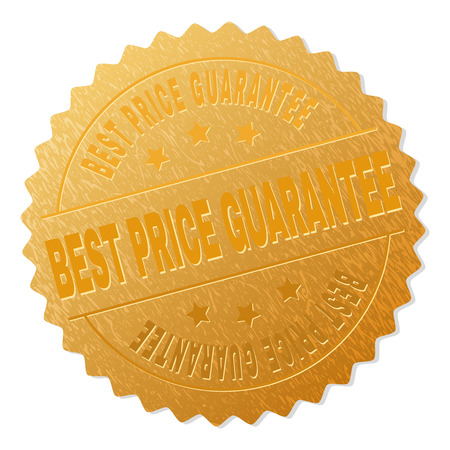 BEST PRICE GUARANTEE gold stamp medallion. Vector golden award with BEST PRICE GUARANTEE text. Text labels are placed between parallel lines and on circle. Golden area has metallic effect.