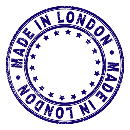 MADE IN LONDON stamp seal imprint with grunge texture. Designed with circles and stars. Blue vector rubber print of MADE IN LONDON title with grunge texture.