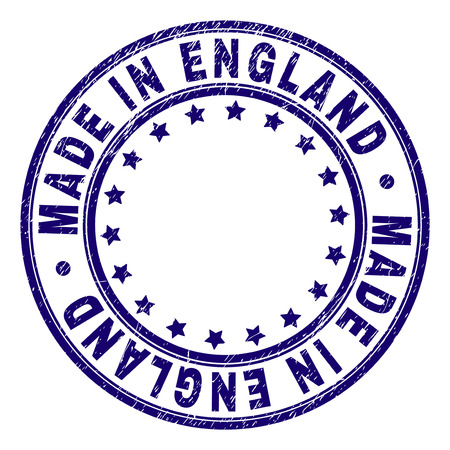 MADE IN ENGLAND stamp seal imprint with distress texture. Designed with circles and stars. Blue vector rubber print of MADE IN ENGLAND label with unclean texture.
