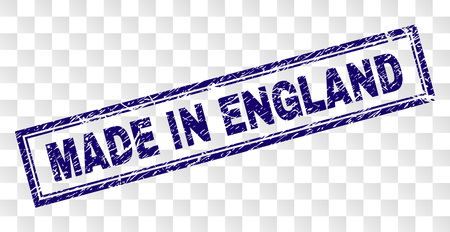 MADE IN ENGLAND stamp seal print with rubber print style and double framed rectangle shape. Stamp is placed on a transparent background.