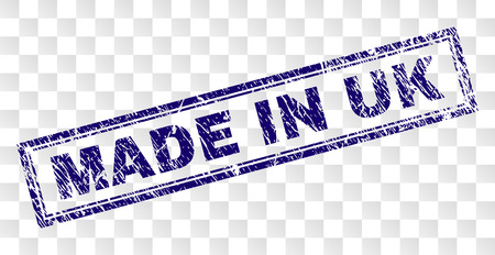 MADE IN UK stamp seal imprint with rubber print style and double framed rectangle shape. Stamp is placed on a transparent background. Blue vector rubber print of MADE IN UK tag with grunge texture.