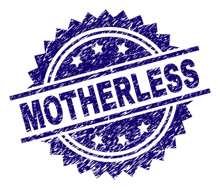MOTHERLESS stamp seal watermark with distress style. Blue vector rubber print of MOTHERLESS caption with dirty texture.