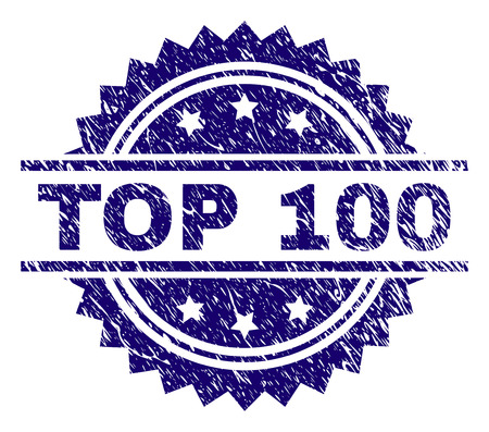 Illustration pour TOP 100 stamp seal watermark with distress style. Blue vector rubber print of TOP 100 caption with corroded texture. - image libre de droit