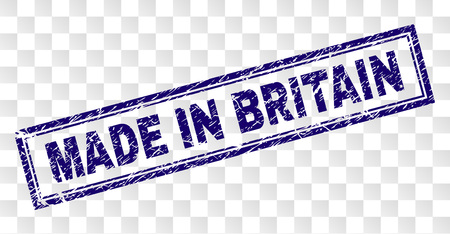 MADE IN BRITAIN stamp seal print with corroded style and double framed rectangle shape. Stamp is placed on a transparent background.