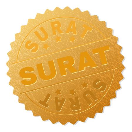 Surat Gold Stamp Seal Vector Golden Award With Surat Text