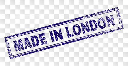 MADE IN LONDON stamp seal watermark with rubber print style and double framed rectangle shape. Stamp is placed on a transparent background.